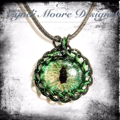 Green, Black, Bronze Handpainted Dragon's Eye with Chainmaille Wrap