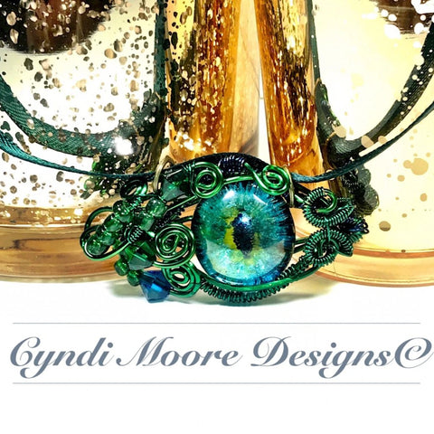Green and Blue Wire Wrapped Dragon Eye Necklace