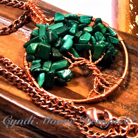 Tree of Life Necklace - Malachite and Copper