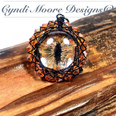 Orange, Gold, and Black Crystal Wrapped Dragon Eye Necklace