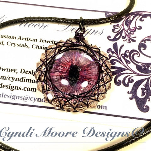 Pink, Purple Dragon Eye Necklace by Cyndi Moore Designs