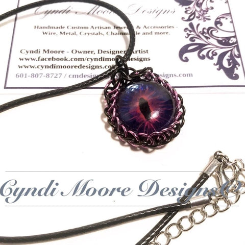 Pink Purple Handpainted Dragon Eye Chain maille by Cyndi Moore Designs