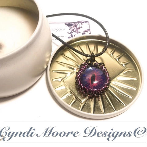 Pink, Black, Purple Hand painted Dragon's Eye with Chainmaille Wrap
