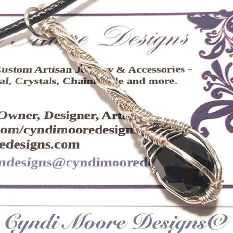 Jet black and Silver Crystal Wand Necklace by Cyndi Moore Designs