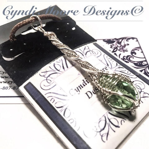 Peridot Green Silver Crystal Wand Necklace by Cyndi Moore Designs