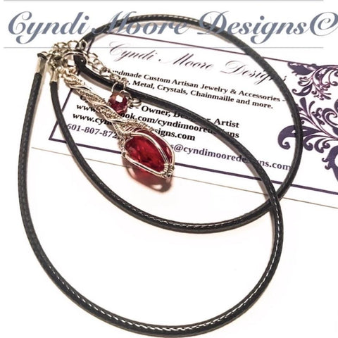 Crystal Wand Necklace - Ruby Red