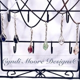 Ruby Red and Silver Crystal Wand Necklace by Cyndi Moore Designs