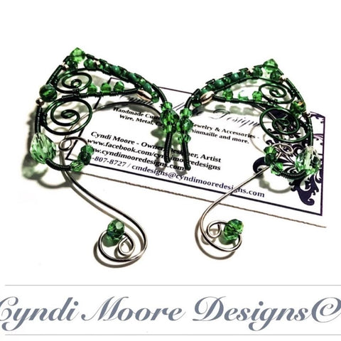 Stainless Steel and Green Elf Ear Cuffs
