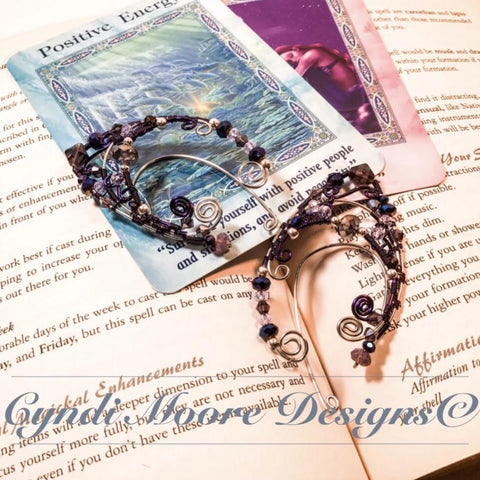 Stainless Steel and Purple Elf Ear Cuffs