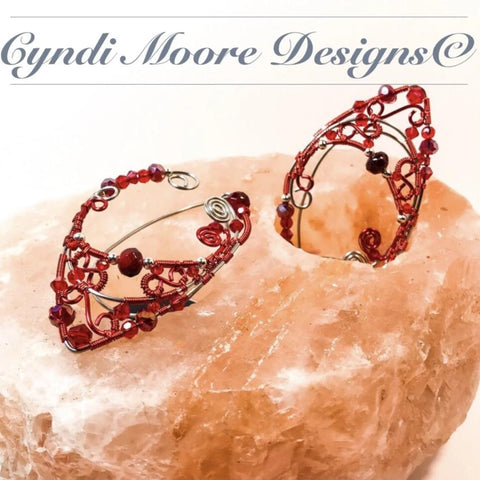 Stainless Steel and Red Elf Ear Cuffs