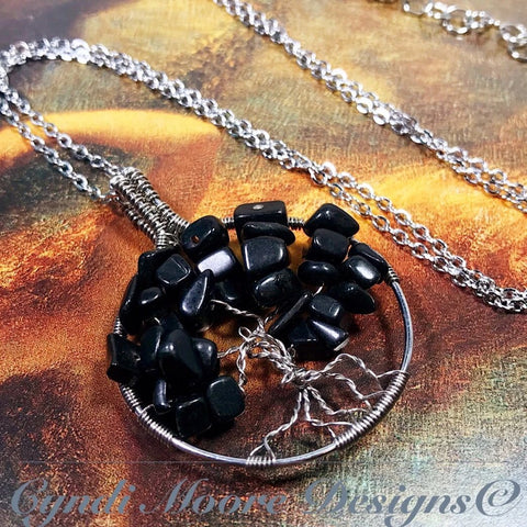Tree of Life Necklace - Stainless Steel and Onyx