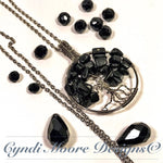 Tree of Life Necklace / Stainless Steel, Onyx