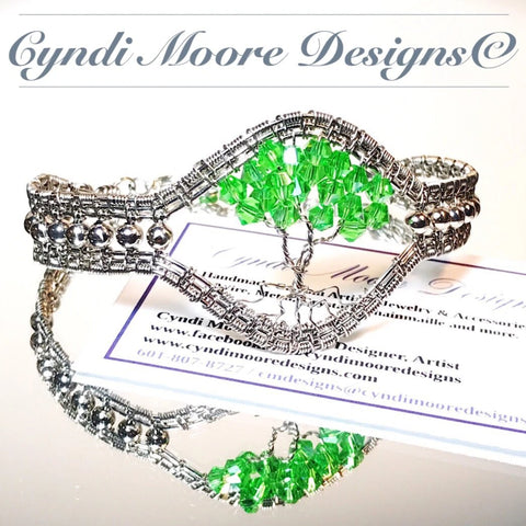 Wire Woven Tree of Life Bangle in Stainless Steel and Peridot Green Crystals
