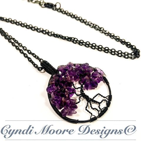 Tree of Life Necklace / Amethyst and Black
