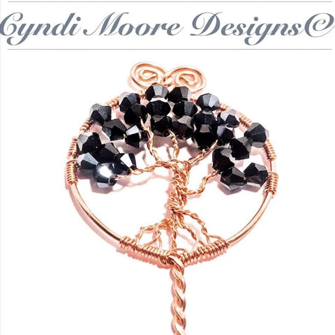 Tree of Life Hair Stick / Copper, Jet Crystals