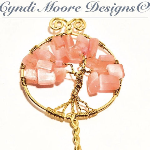 Brass Tree of Life Hair Stick w/ pink cat's eye by Cyndi Moore Designs