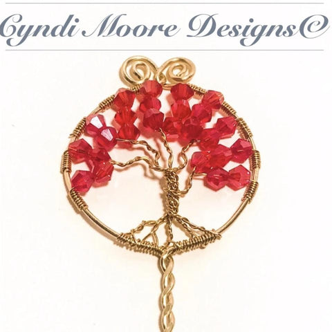 Brass Tree of Life Hair Stick with Red Crystals by Cyndi Moore Designs