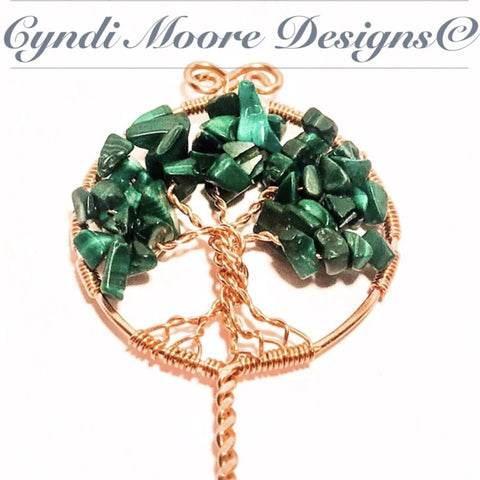 Tree of Life Hair Stick / Copper, Malachite