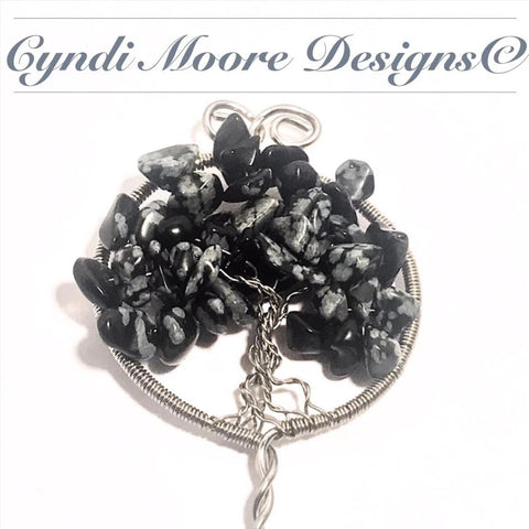 Tree of Life Hair Stick / Steel, Obsidian