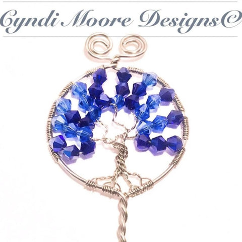 Tree of Life Hair Stick / Steel, Blue Crystals
