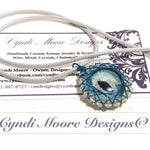 Blue Silver Hand painted Dragon Eye Chainmaille by Cyndi Moore Designs