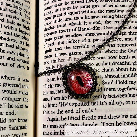 Red, Gold, Black Dragon Eye Necklace