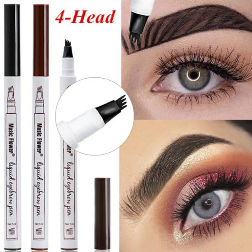 Tattoo Eyebrow Pen with Four Heads Long-lasting Waterproof Brow Gel and Tint Dye Cream for Eyes Makeup