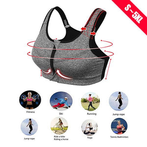 Front Zip Level 5 Anti-Vibration Professional Push Up Sports Bra Top 5XL