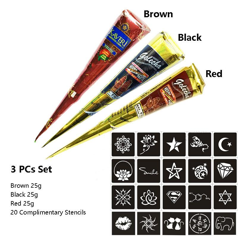 Henna Cones Temporary Tattoo Paste Body Paint Stencils