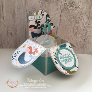 Kartka urodzinowa z syrenką | Birthday card wirh mermaid  bk01