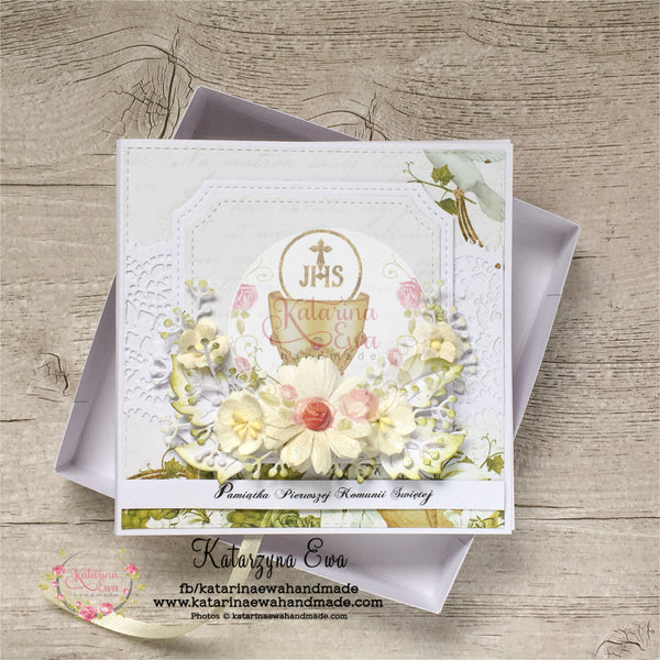 Kartka na komunijna | Communion card in the box c14b26