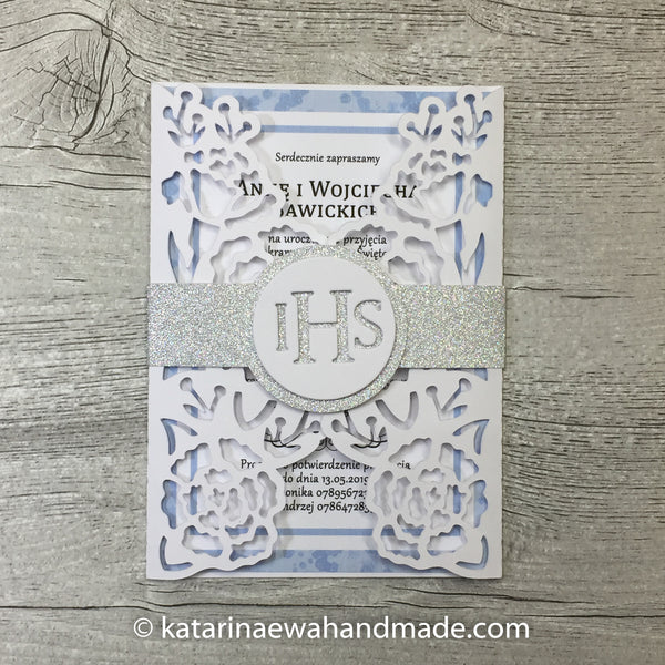 Communion invitation inv01-blue  'Flower lace'