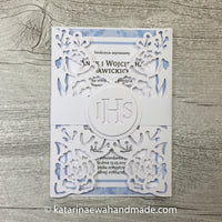 Communion invitation inv01-pink  'Flower lace'