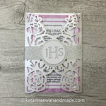Communion invitation inv01-violet  'Flower lace'