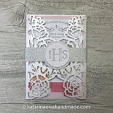 Communion invitation inv01-pink2  'Flower lace'