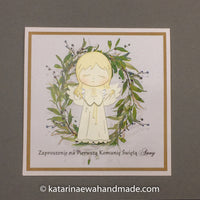 Communion invitation for girl inv02-06 'Olive garden'
