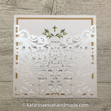 Communion invitation pocket 03-pocket-pearl 'Pearl lace'