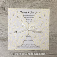 Invitation  inv04-ivory 'Geometric lace'
