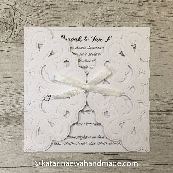 Invitation  inv04-white 'Geometric lace'
