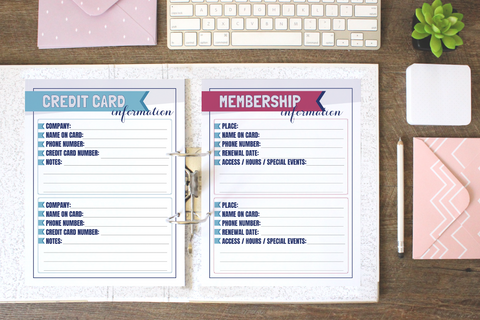 Financial Cards & Info Printables