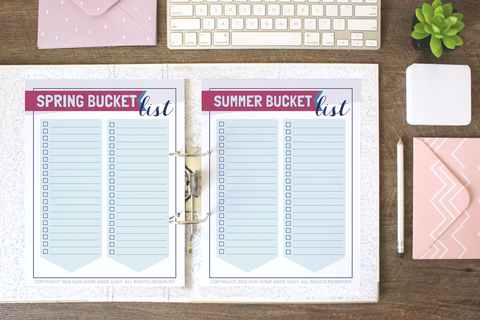 Seasonal Bucket List Printables