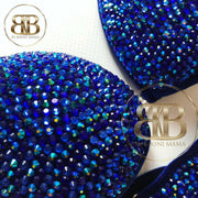 (Megan) NPC Style Royal Blue Velvet Fully Crystallized Suit