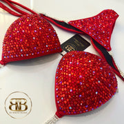 (Mira) NPC Style Bright Red Fully Crystallized Competition Bikini