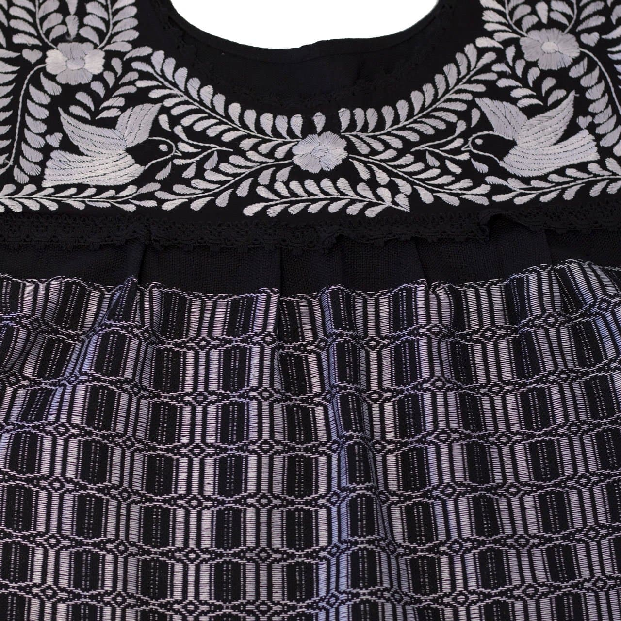 Mitla Hand Embroidered Black Telar Dress