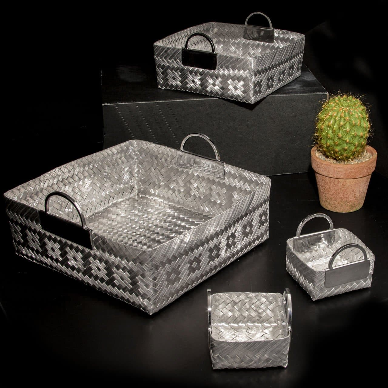 Woven Aluminum Square Basket with Handles