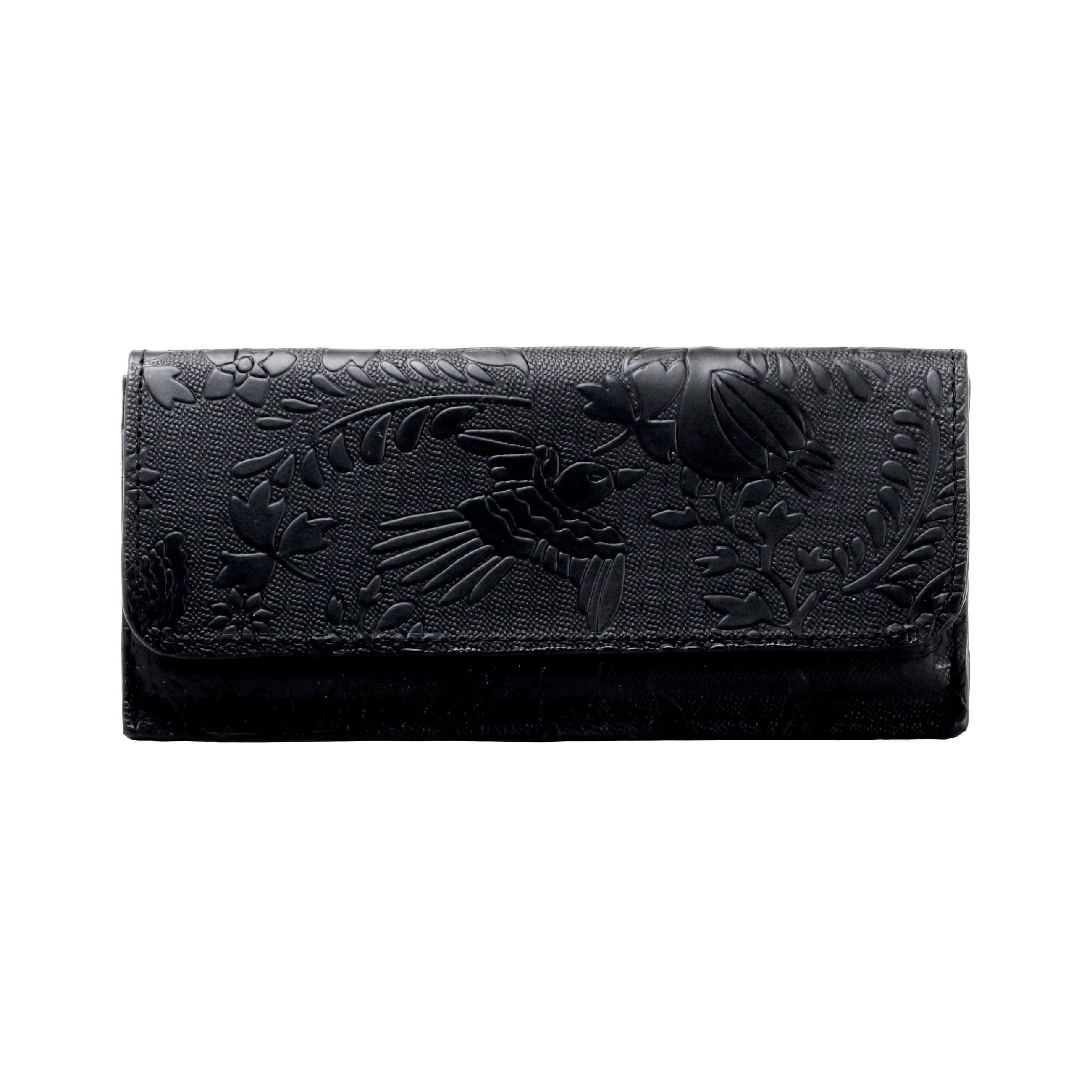 Otomí Embossed Black Leather Wallet