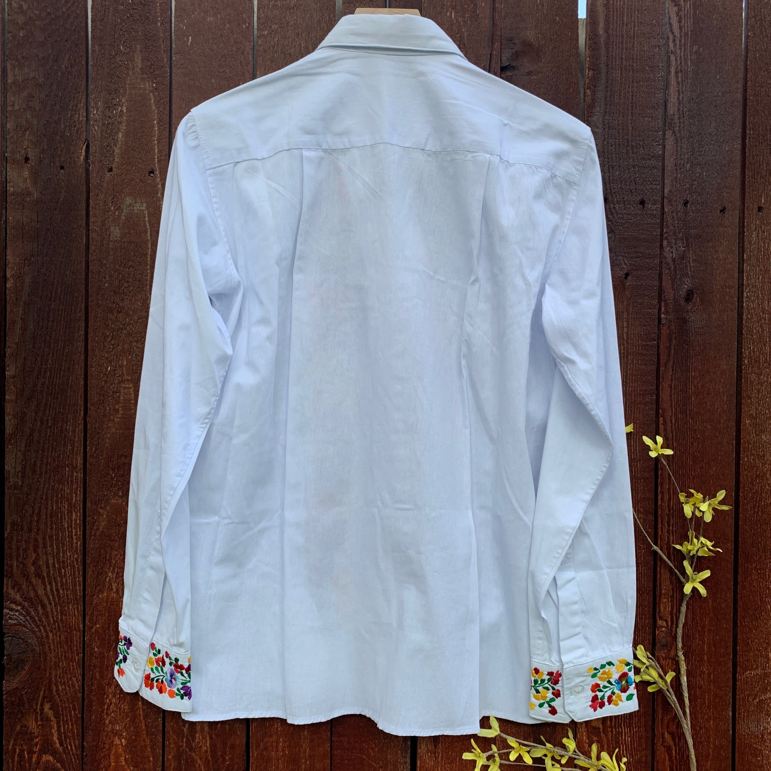 Pablo Hand Embroidered Button Down Shirt from Oaxaca - White & Multicolor