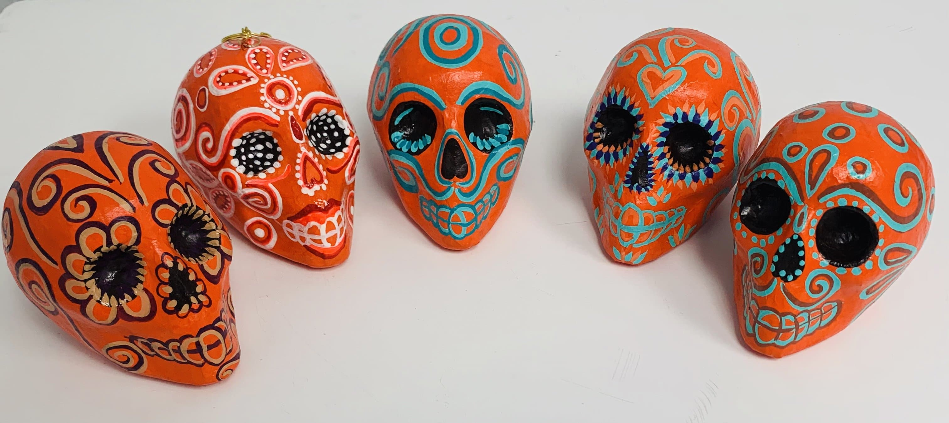 Medium Paper Mache Hand Painted Sugar Skulls