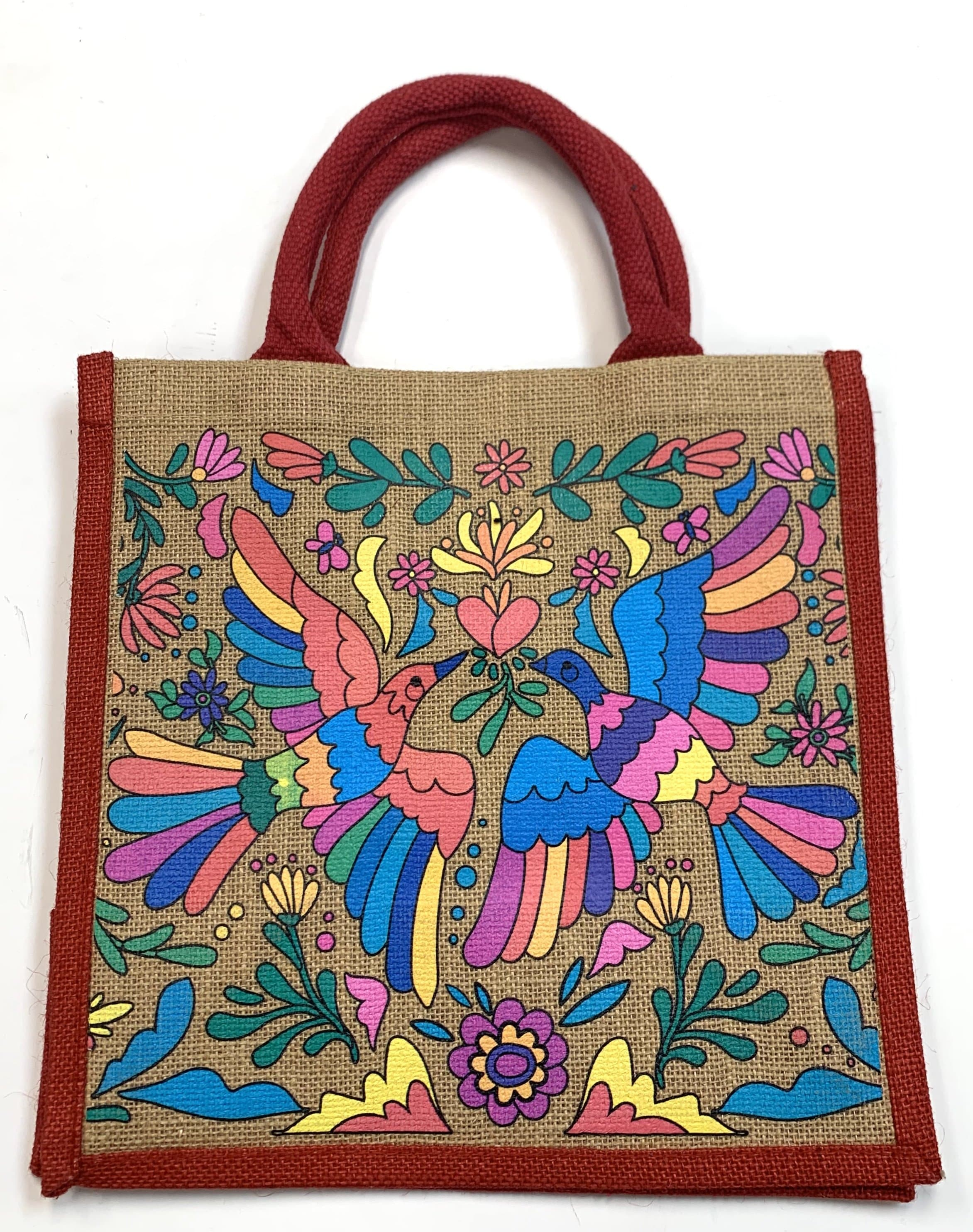 Burlap Mercado Tote Bag