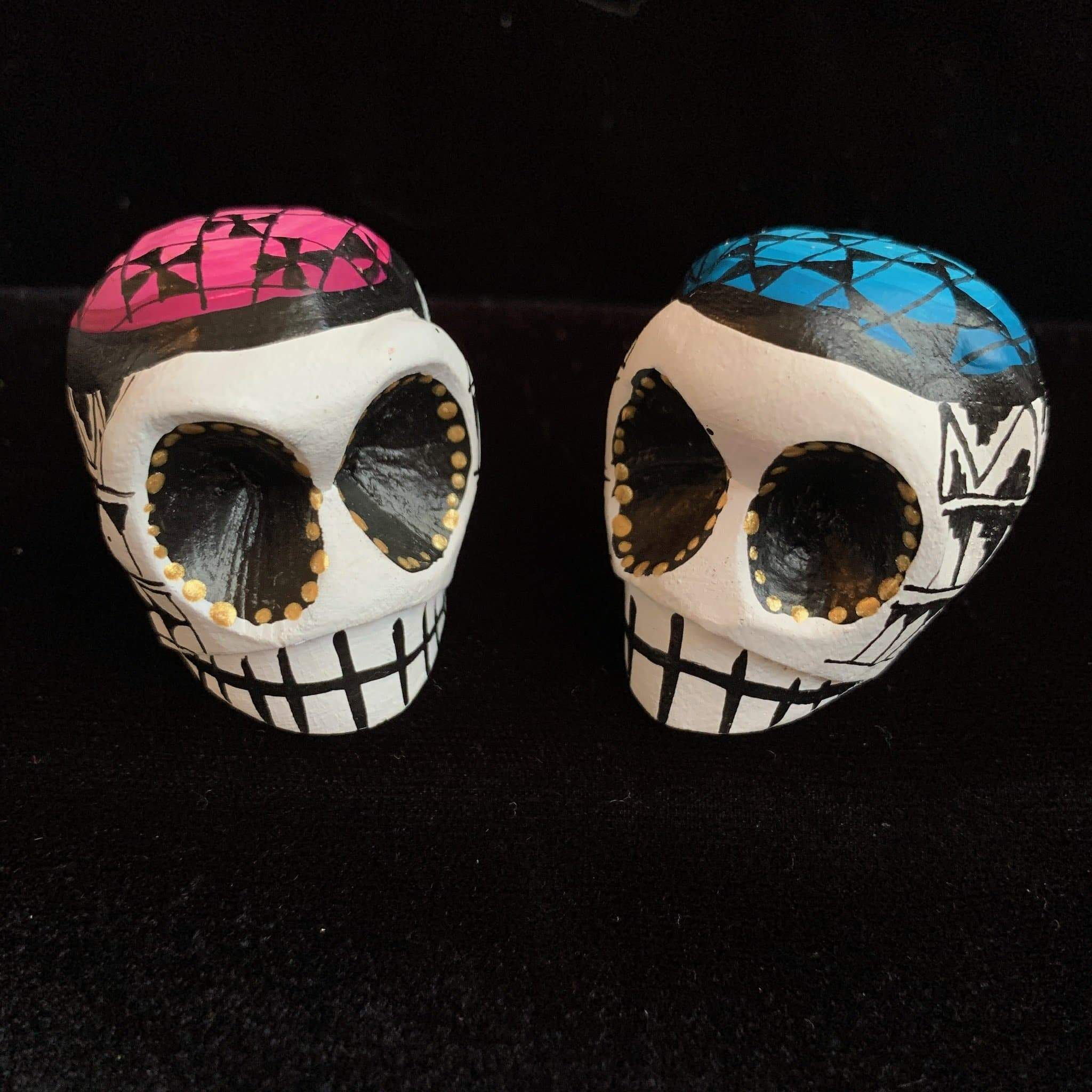 Small Hand Painted Day of the Dead Wooden Sugar Skulls